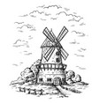 village near a wheat field and a windmill drawn vector image vector image