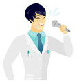 young asian doctor singing to the microphone vector image vector image