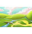 3d cartoon nature landscape with bridge with vector image