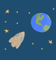 space the spacecraft flies to earth vector image