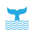 abstract symbol whale tail and sea wave vector image