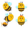 bee with honey cartoon character set vector image vector image