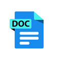 blue icon doc file format extension vector image vector image
