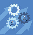 businessmen team group walking in gears vector image