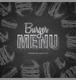 chalk drawing typography fast food burger menu vector image vector image