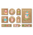 christmas set of tags with piggies on holidays vector image