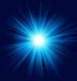 deep blue glow star burst flare explosion vector image