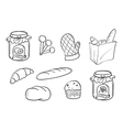 Doodle design of bread and jam vector image vector image