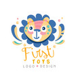 first toys logo design badge with cute lion can vector image