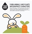 Flat design icons with farm animal - rabbit and vector image vector image