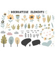 flowers plants trees leaves bubbles collection vector image