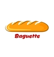 French crispy baguette in cartoon style vector image vector image
