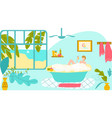 girl relax in bathroom smiling woman lying in vector image vector image