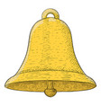 golden bell hand drawn colored sketch vector image
