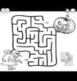 halloween maze activity for coloring vector image vector image