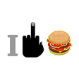 I hate hamburger and burger logo for healthy vector image vector image