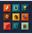 Icon set with horse equipment in flat style vector image