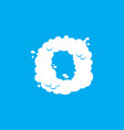 letter o cloud font symbol white alphabet sign on vector image vector image