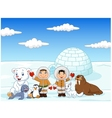 Little kids wearing traditional eskimo costume vector image vector image