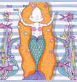 mermaid woman with fishes and plants leaves vector image vector image