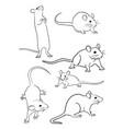 mice line art 04 vector image vector image