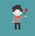 mime artist with rose cute character flat design vector image