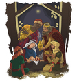 nativity scene jesus mary joseph and three kings vector image vector image