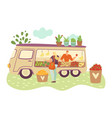 organic food farmer truck farmers with harvest of vector image vector image