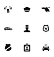 Police 9 icons set vector image