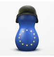 Russian matrioshka in military helmets and EU flag vector image vector image