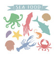 seafood hand drawn colorful vector image