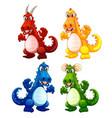 set dragon character vector image