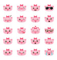 set of pigs emojis vector image vector image