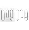 set silver metallic realistic paper clip vector image