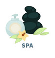 spa wellness massage stones and essential oil vector image vector image