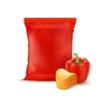 Stack Potato Chips with Paprika and Red Foil Bag vector image vector image