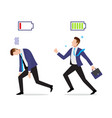 stressed overworked and vigorous businessman with vector image