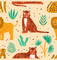 trendy seamless pattern with hand drawn lions vector image vector image