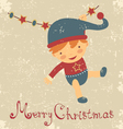 Vintage baby christmas card vector image