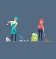 volunteers cleaning territory of garbage vector image