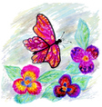 Watercolor Butterfly Design2 vector image