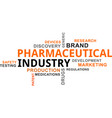 word cloud - pharmaceutical industry vector image vector image