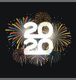year 2020 displayed with fireworks new vector image