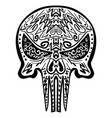 zentangle stylized skull freehand sketch vector image