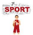 basketball man with sport icons on white vector image