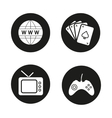 Addictions and bad habits black icons set vector image