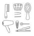 black and white tools for hairstyles icons set vector image