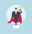 businessman holding a trophy on podium vector image vector image