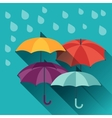 Card with multicolor umbrellas in flat design vector image vector image