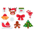 christmas icons new year decoration vector image vector image